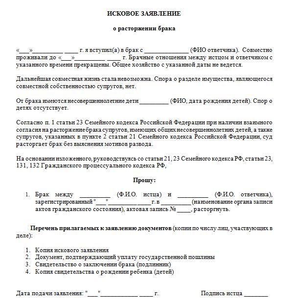 Как подать заявление в суд на развод