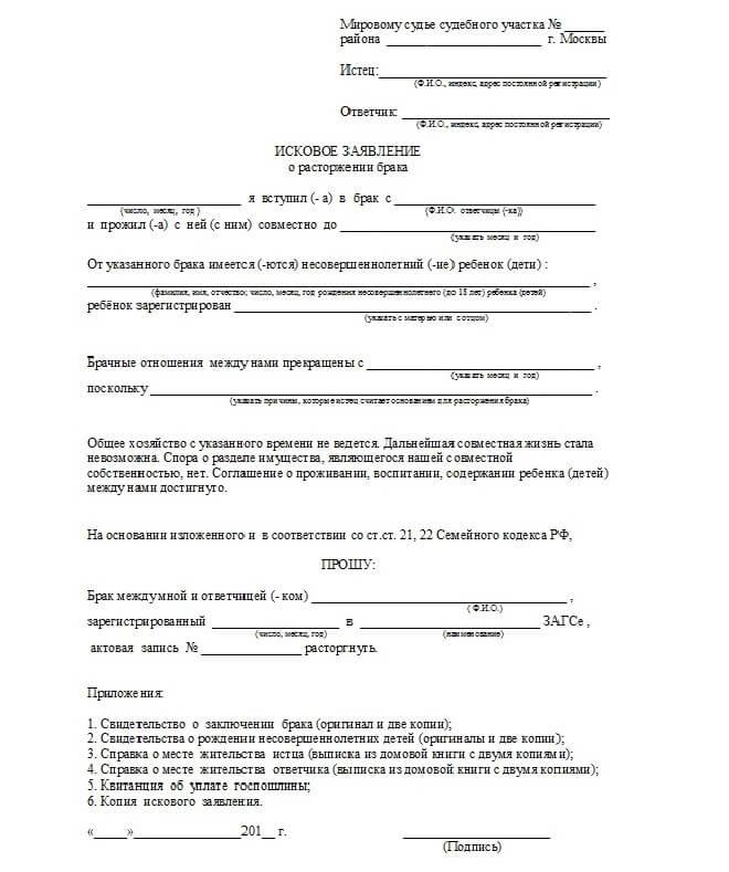 Образец искового заявления для подачи в суд